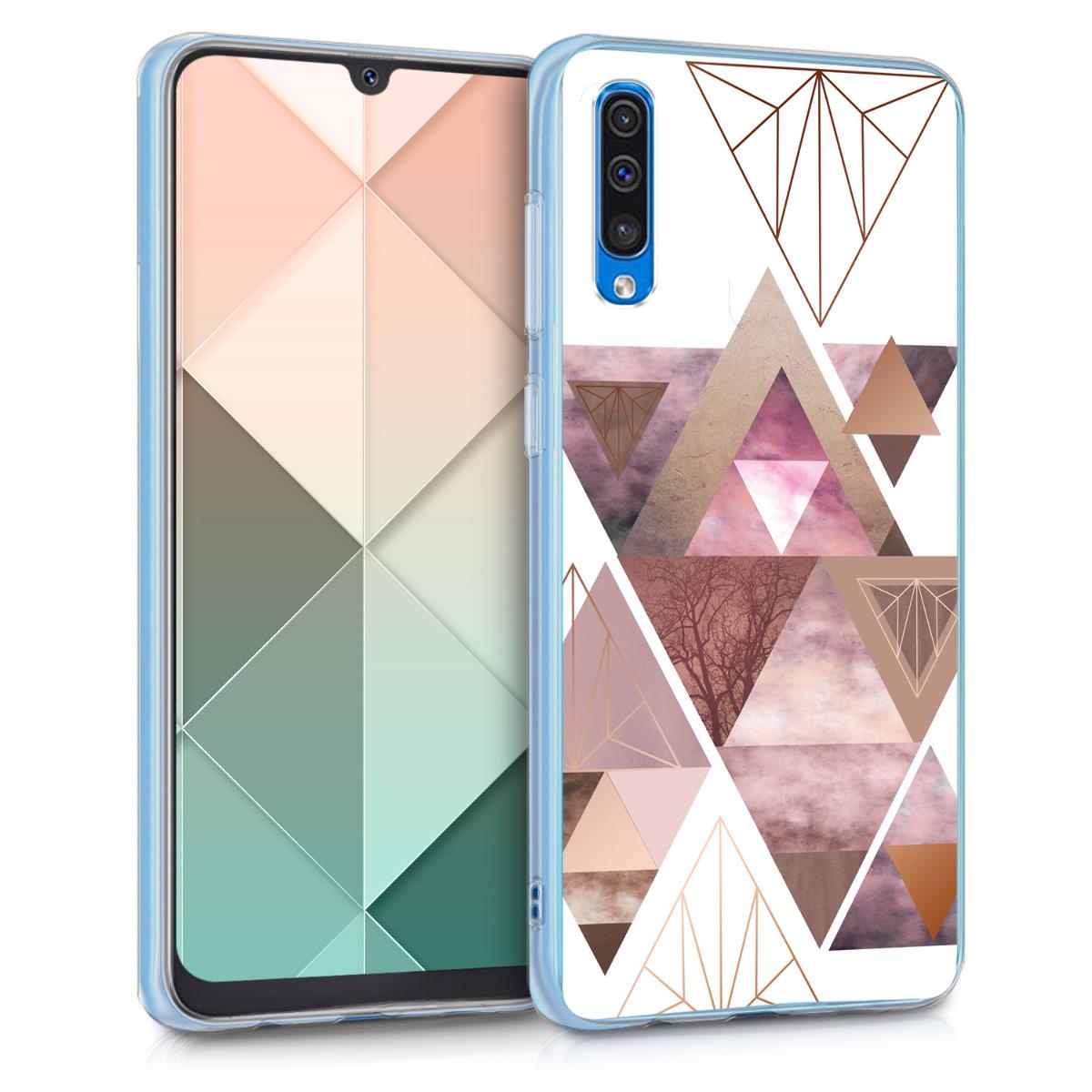 Kvalitní silikonové TPU pouzdro pro Samsung A50 - Patchwork trojúhelníky světle růžové / starorůžové rosegold / bílé