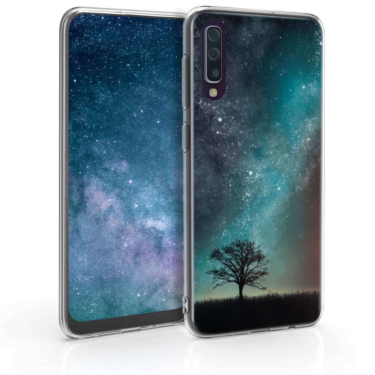Kvalitní silikonové TPU pouzdro pro Samsung A50 - kosmické přírodní modré / šedé / černé