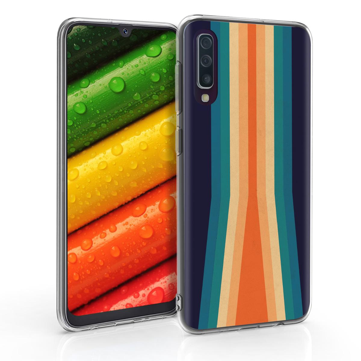 Kvalitní silikonové TPU pouzdro pro Samsung A50 - Retro Stripes vícebarevná