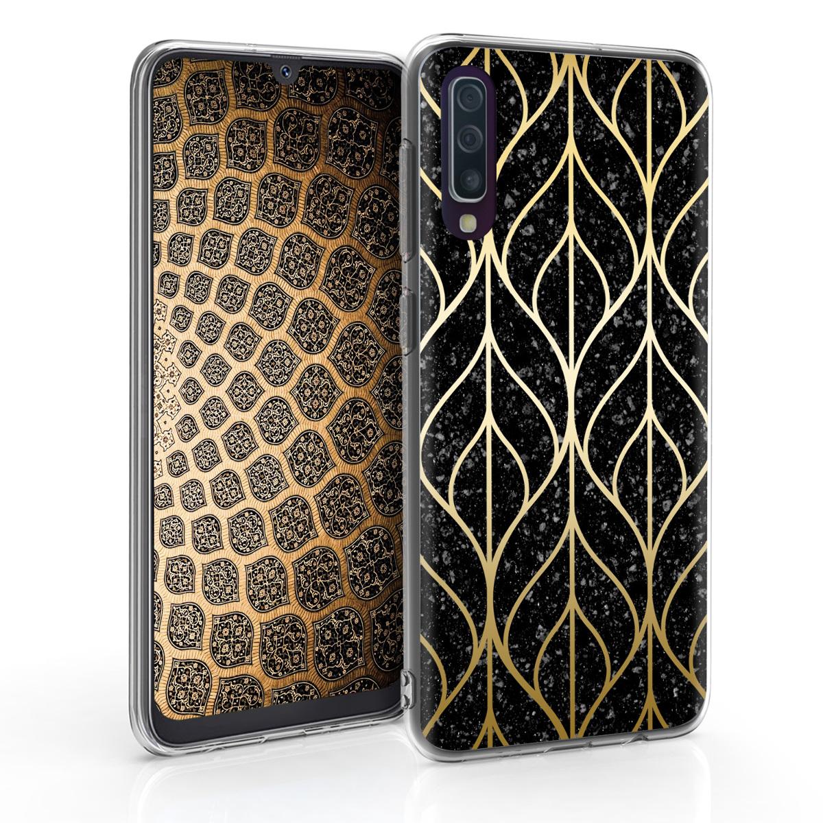 Kvalitní silikonové TPU pouzdro pro Samsung A50 - Listová Mix Gold / černé