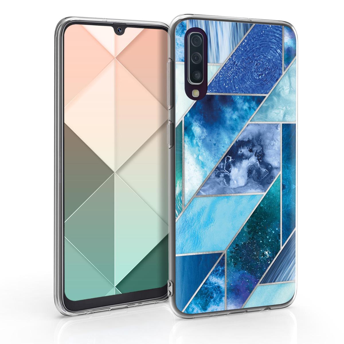Kvalitní silikonové TPU pouzdro pro Samsung A50 - Geometrické vzory modré / tyrkysové / stříbrné