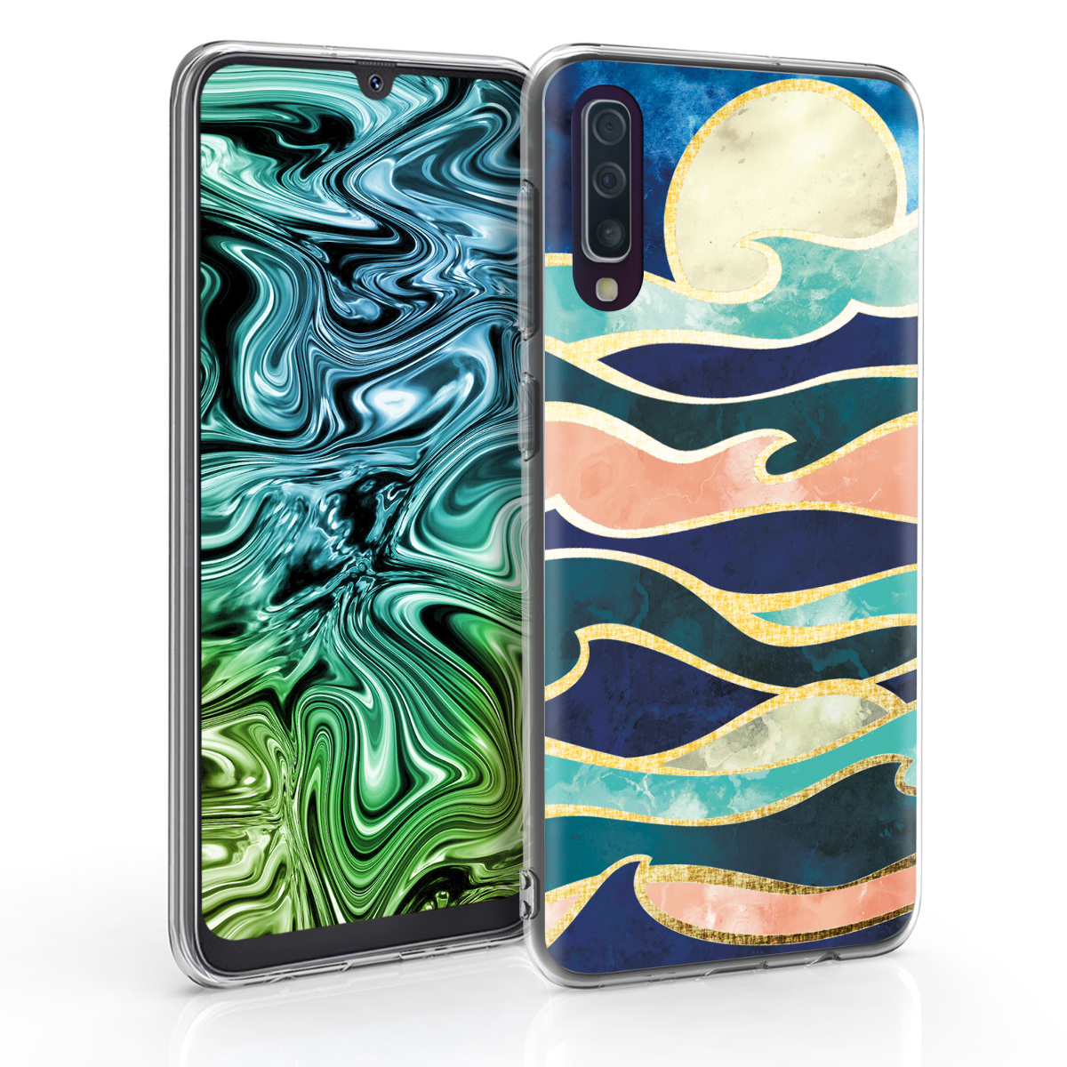 Kvalitní silikonové TPU pouzdro pro Samsung A50 - Měsíc a vlny tmavě modré / korálově oranžové / Gold