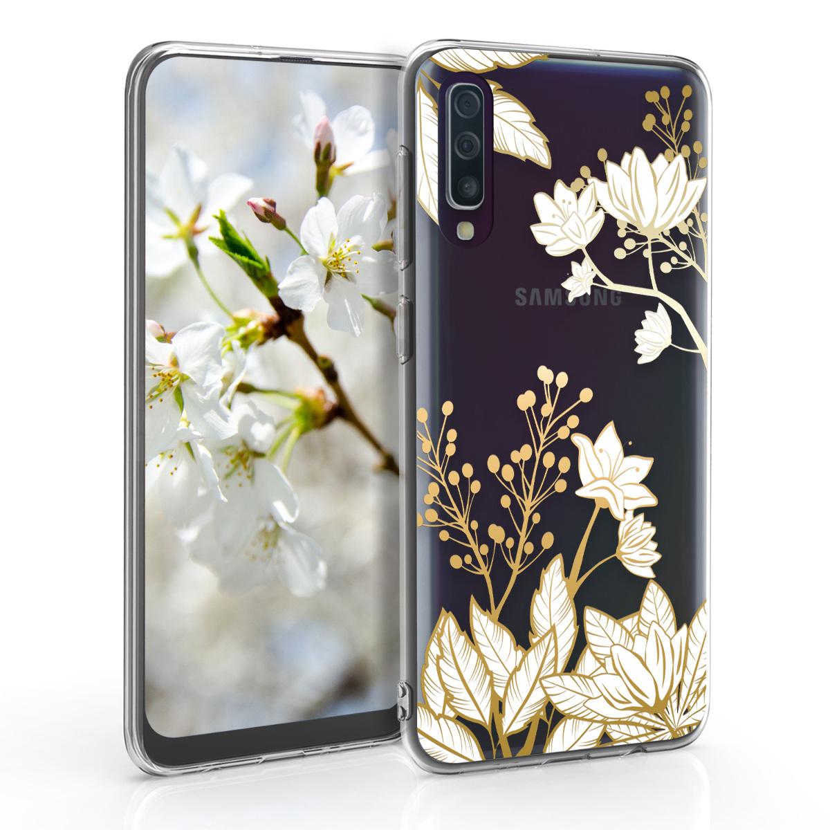 Kvalitní silikonové TPU pouzdro pro Samsung A50 - Floral Leaf Mix Gold / bílé / transparentní
