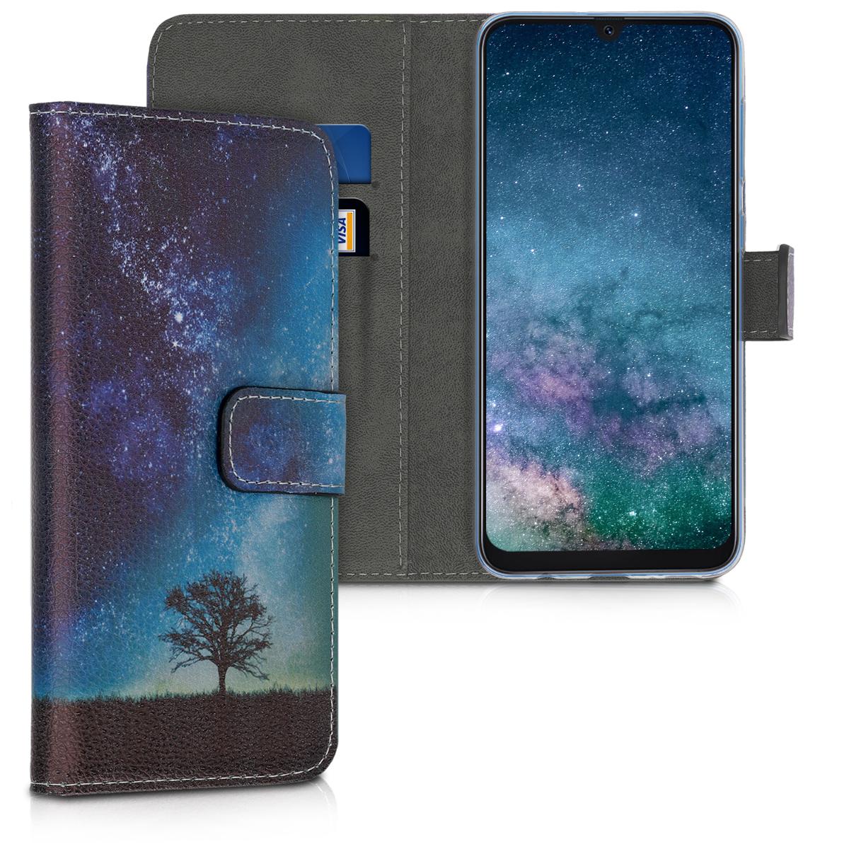 Kožené pouzdro pro Samsung A50 - kosmické přírodní modré / šedé / černé