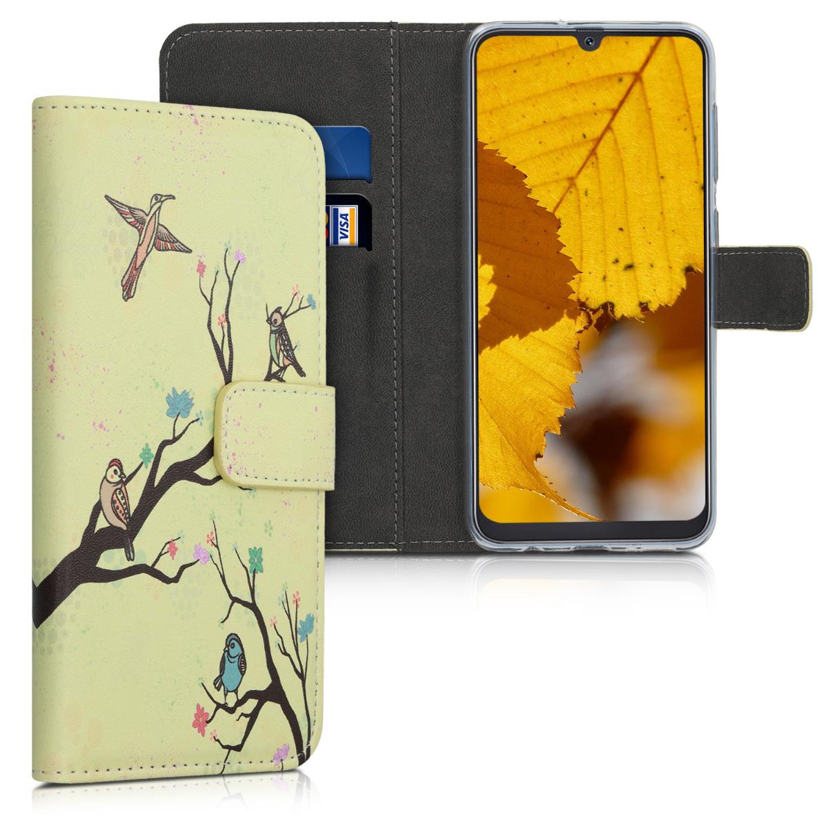 Kožené pouzdro pro Samsung A50 - Floral Bird Tree oranžové / Brown / Beige