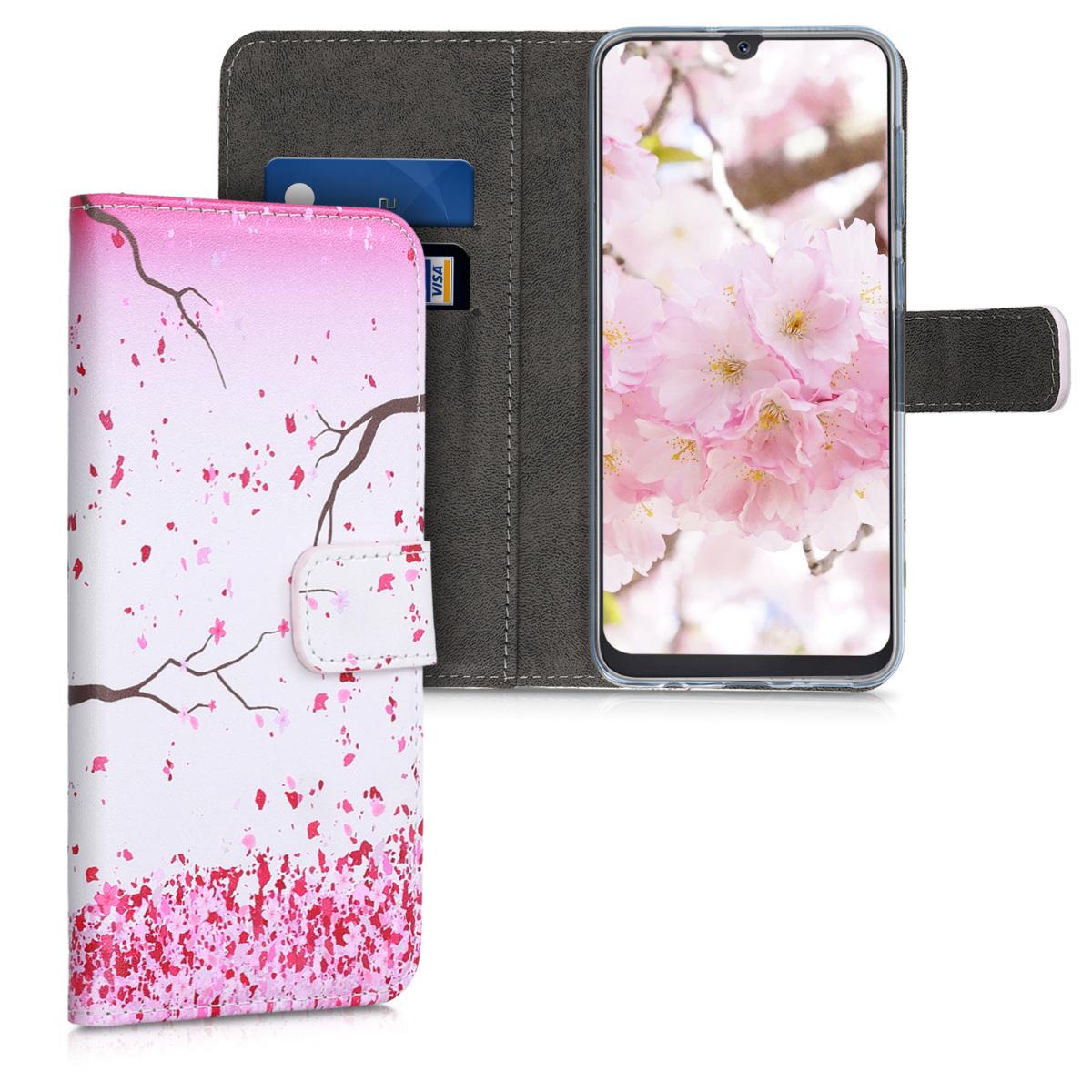 Kožené pouzdro pro Samsung A50 - Cherry Blossoms růžové / tmavě hnědá / bílá