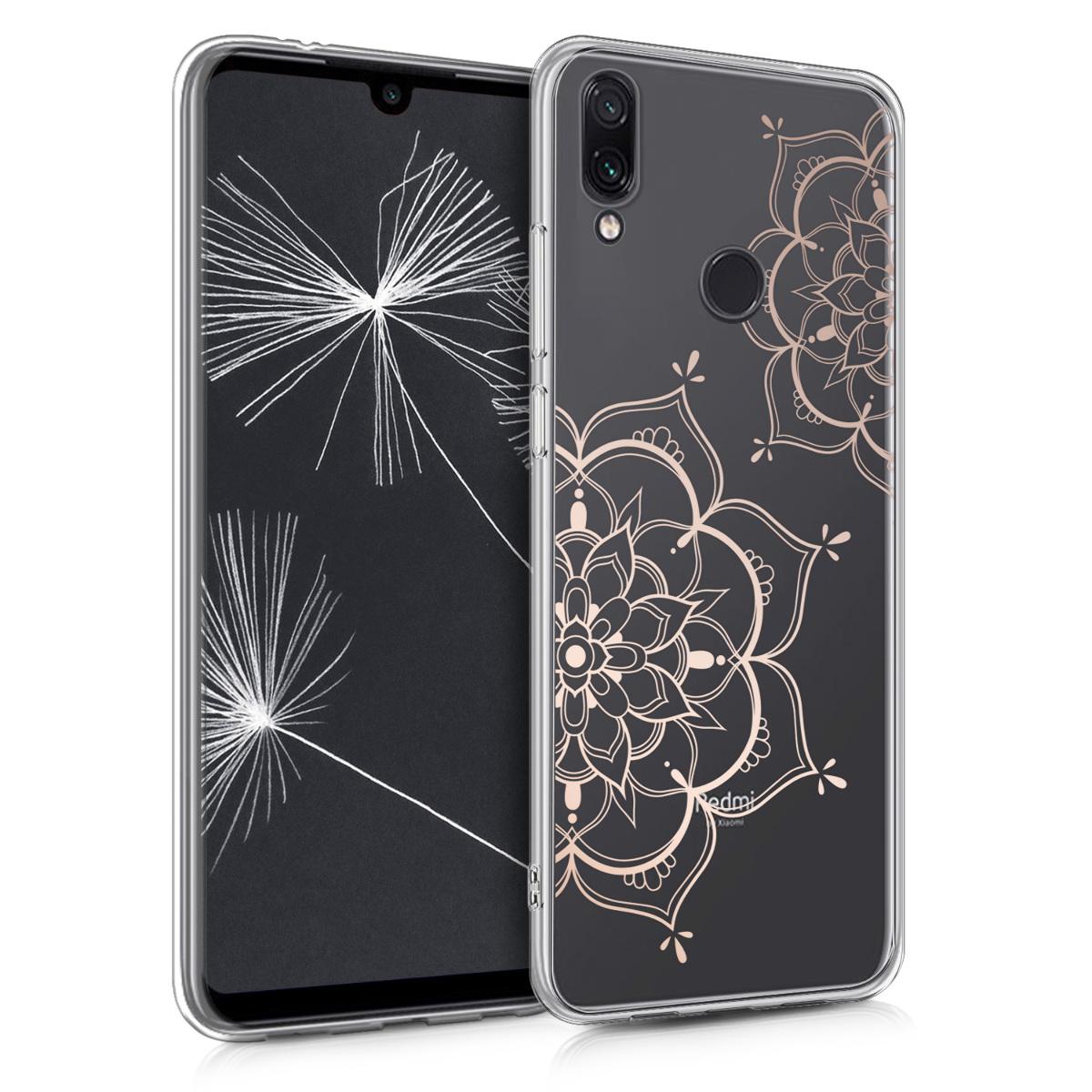 Kvalitní silikonové TPU pouzdro | obal pro Xiaomi Redmi Note 7 | Note 7 Pro - květina Twins starorůžový růžovýgold / transparentní