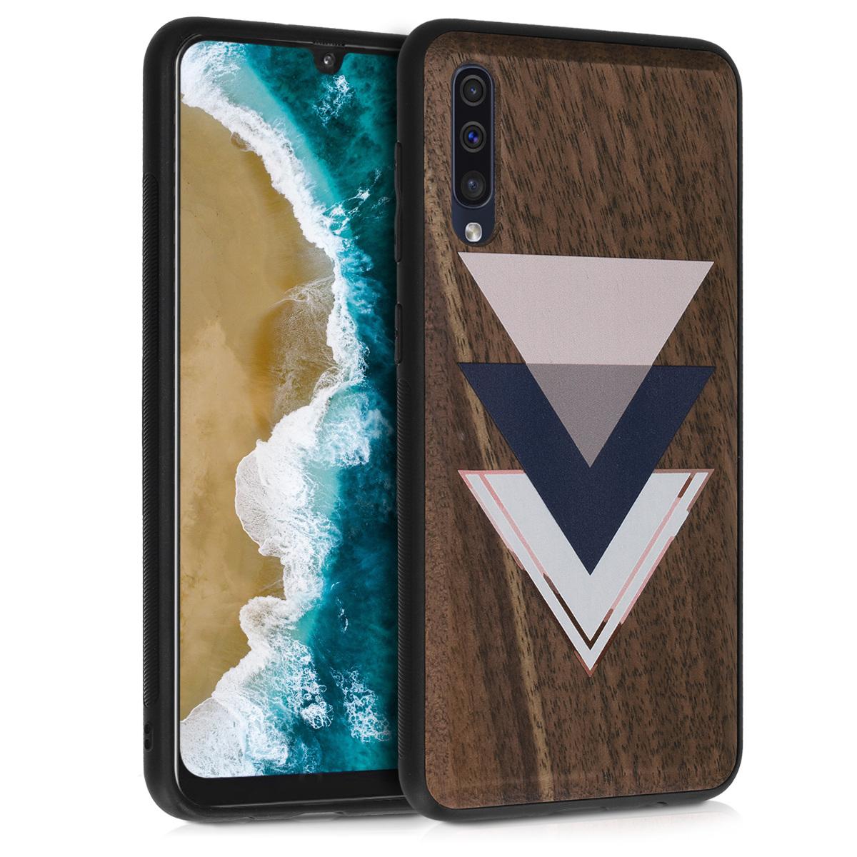 Dřevěné pouzdro pro Samsung A50 - Dřevo a trojúhelníky tmavě modré / Dusty růžové / tmavě hnědá