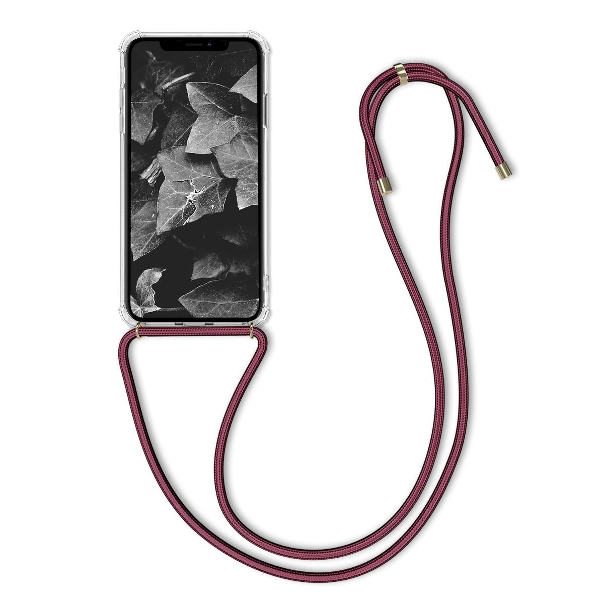 Kvalitní silikonové TPU pouzdro pro Apple iPhone XS Max - Transparent | Dark Red
