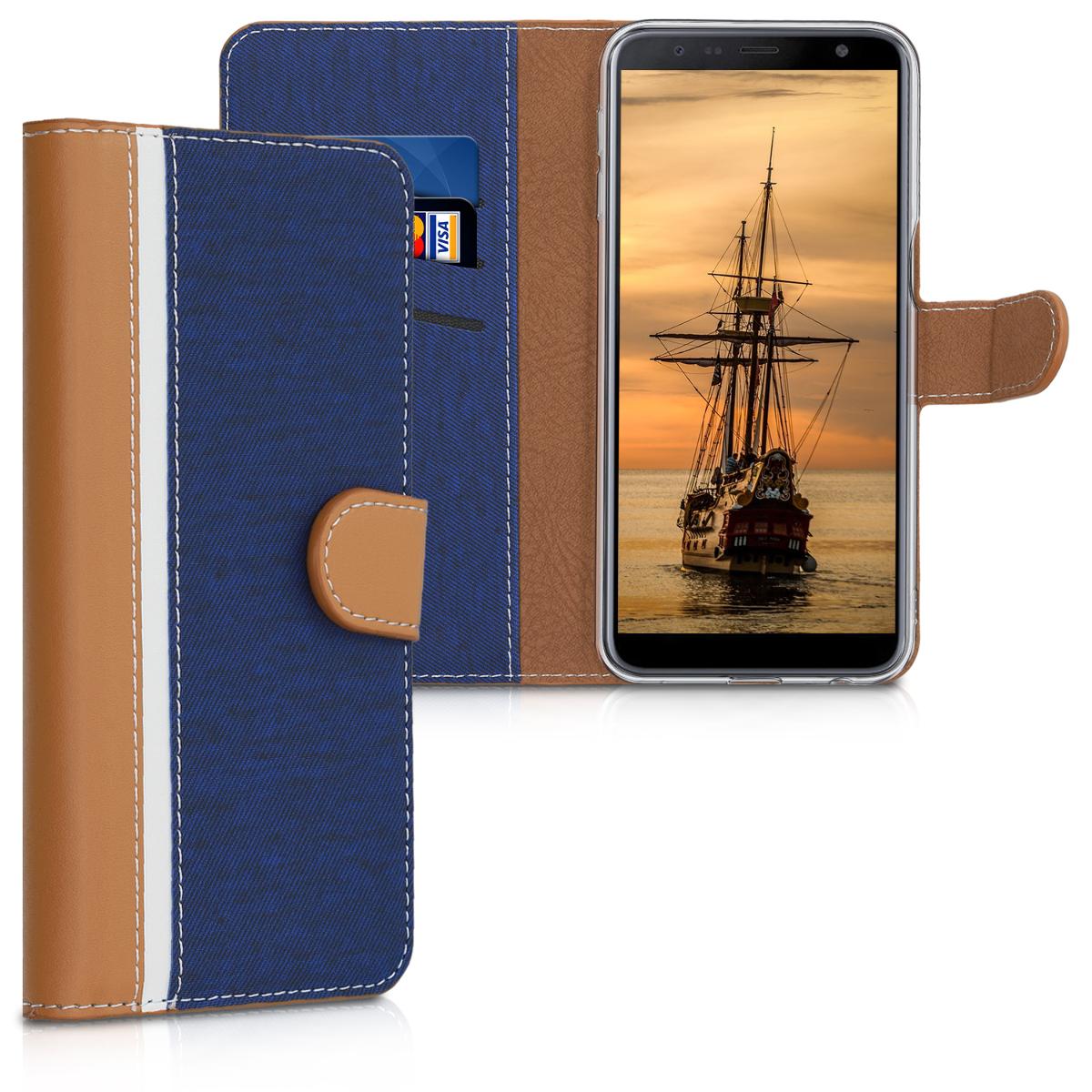 Kožené pouzdro pro Samsung J6+ | J6 Plus DUOS - tmavě modré / Brown / bílé