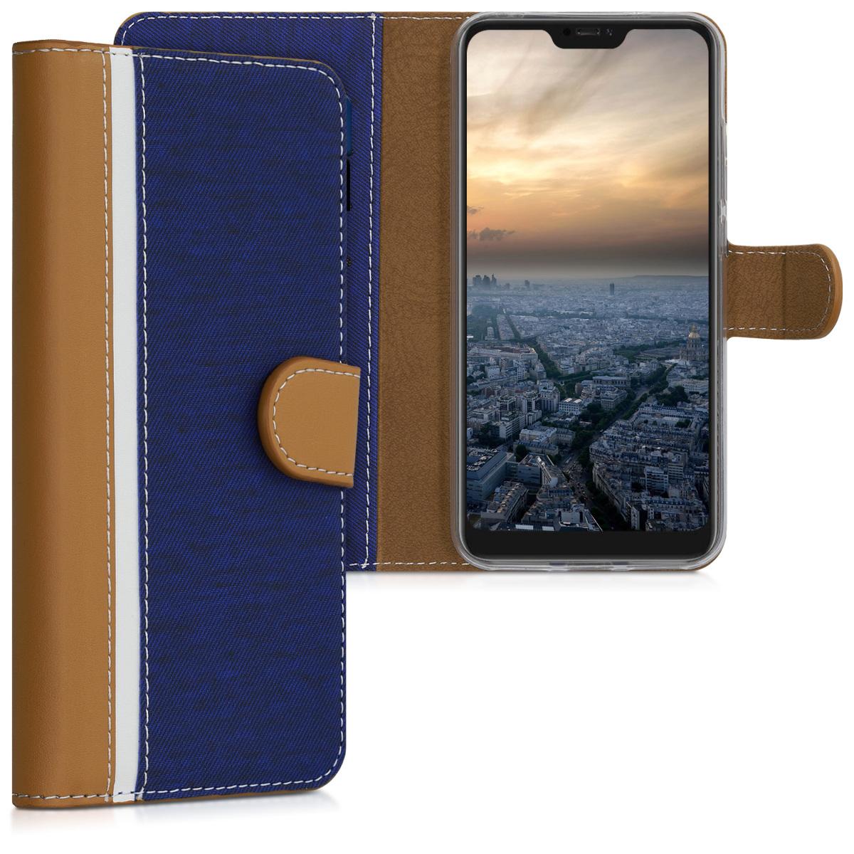 Kožené pouzdro | obal pro Xiaomi Redmi 6 Pro | Mi A2 Lite - tmavě Blue / hnědý / bílý
