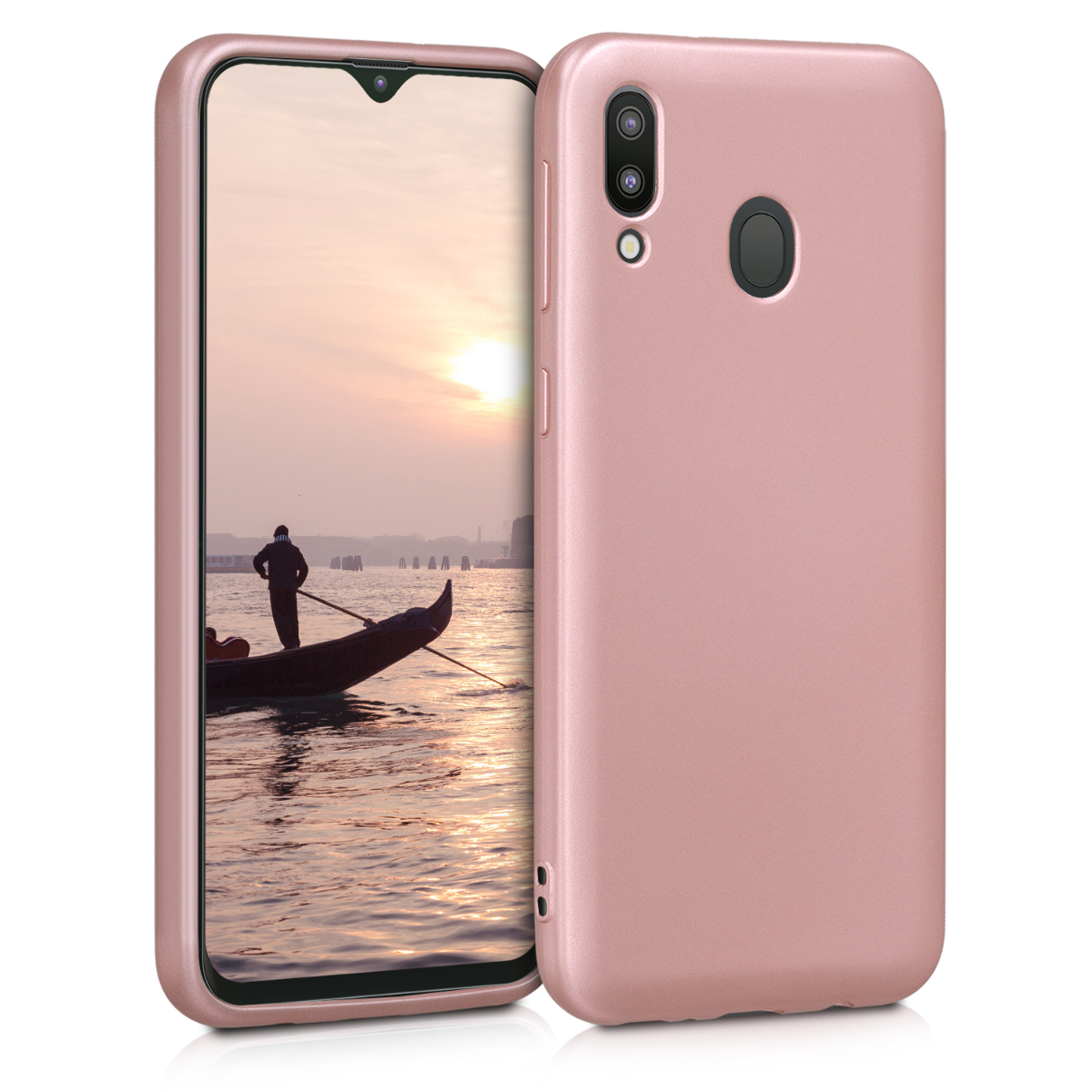 Kvalitní silikonové TPU pouzdro pro Samsung M20 (2019) - metalické starorůžové rosegold