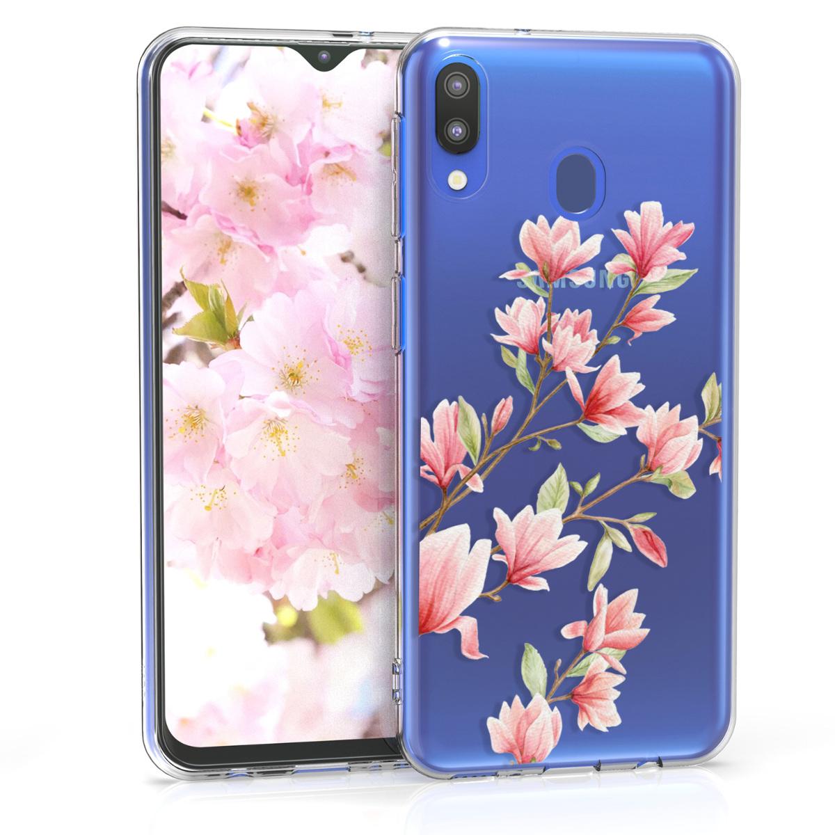 Kvalitní silikonové TPU pouzdro pro Samsung M20 (2019) - Magnolie růžové / bílé / transparentní