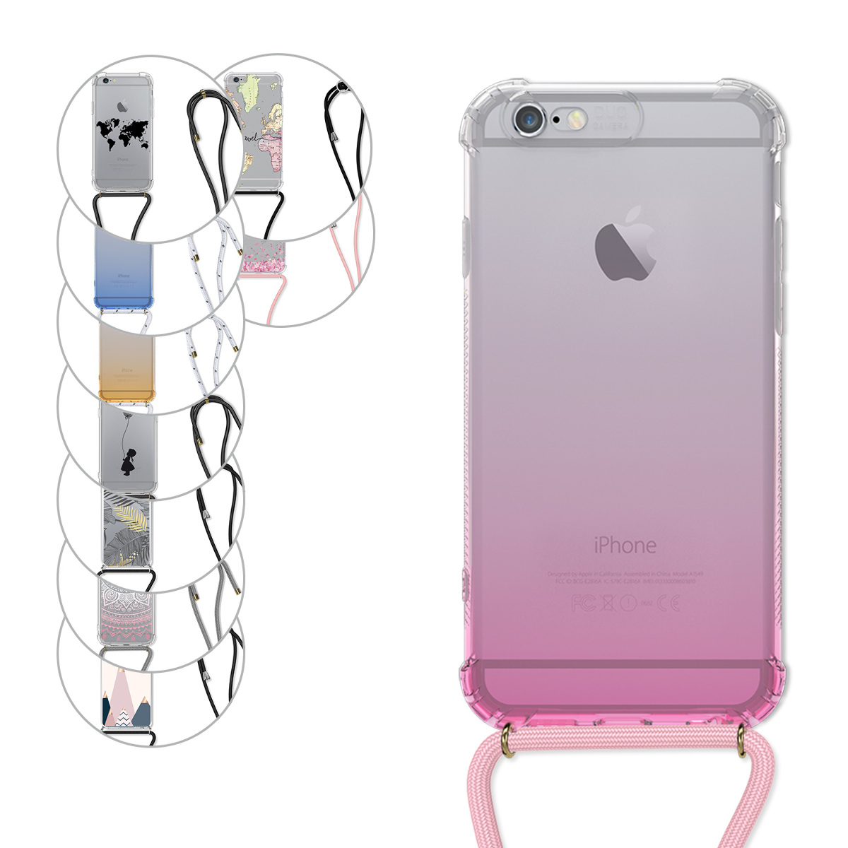 Clear Transparent TPU Cell Phone Cover with Neck Cord Lanyard Strap kwmobile Crossbody Case Compatible with Apple iPhone X Transparent//Green//White