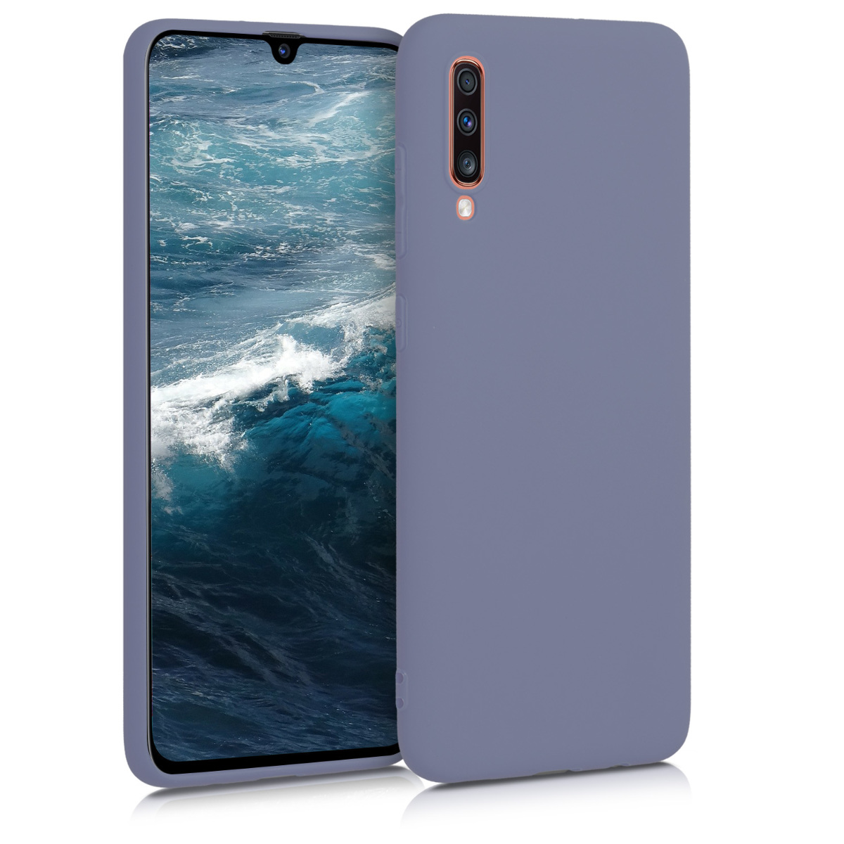 Kvalitní silikonové TPU pouzdro pro Samsung A70 - matné Lavender šedé