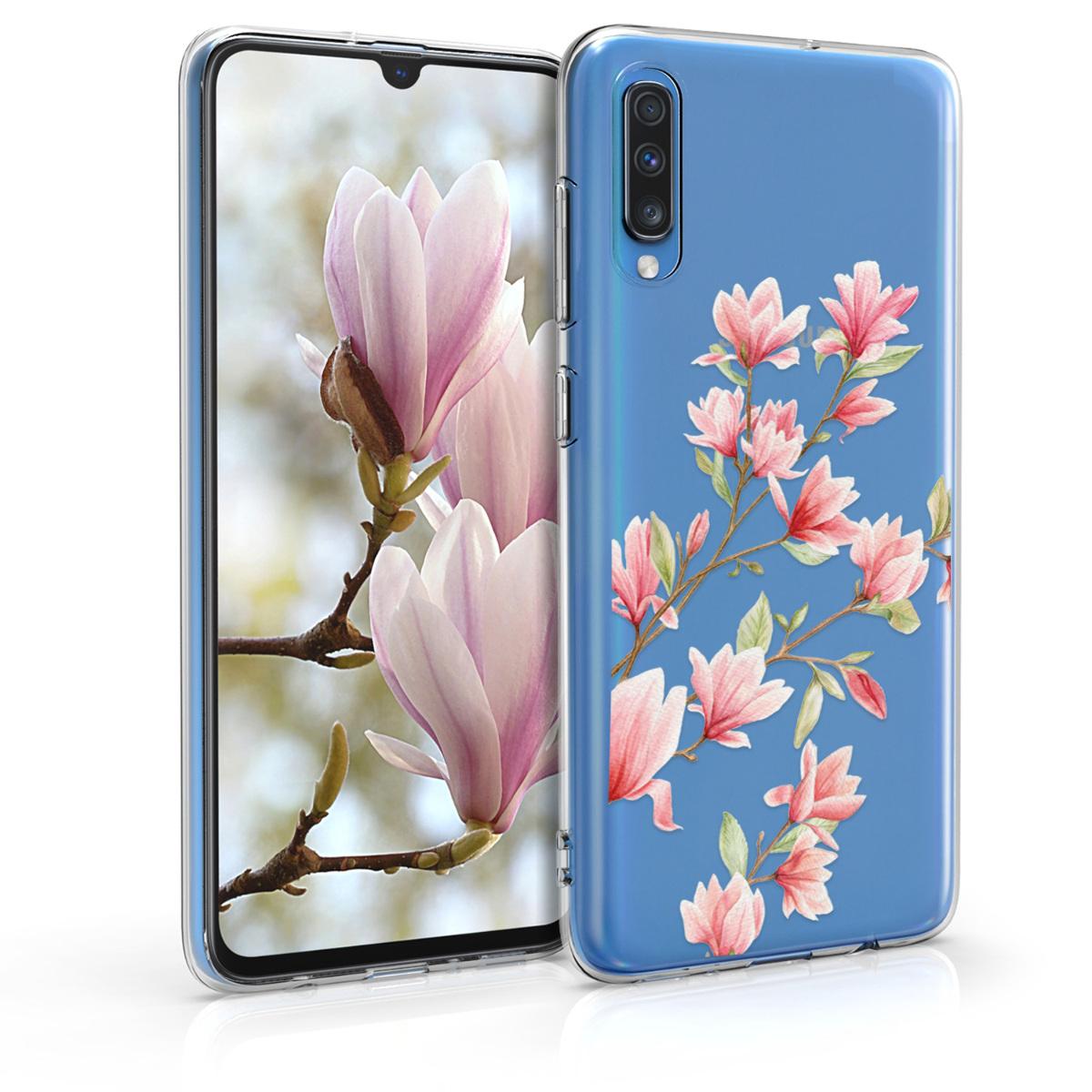 Kvalitní silikonové TPU pouzdro pro Samsung A70 - Magnolie růžové / bílé / transparentní