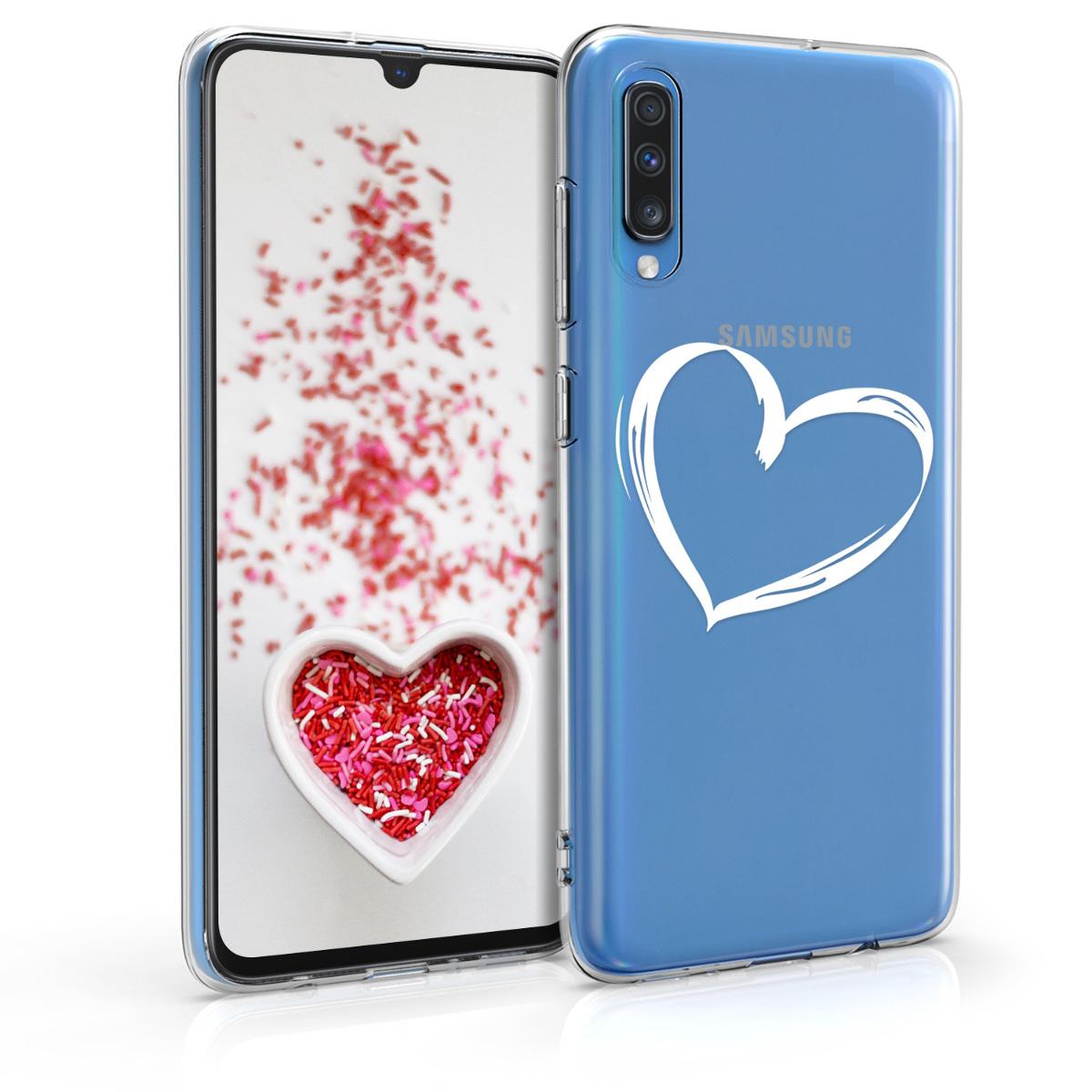 Kvalitní silikonové TPU pouzdro pro Samsung A70 - Brushed Heart bílé / transparentní