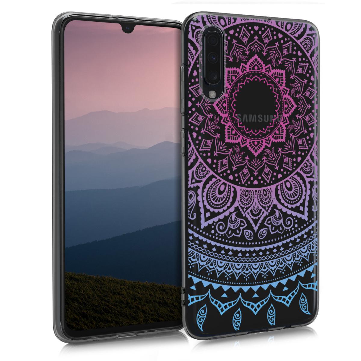 Kvalitní silikonové TPU pouzdro pro Samsung A70 - indické slunce modré / tmavě růžová / transparentní