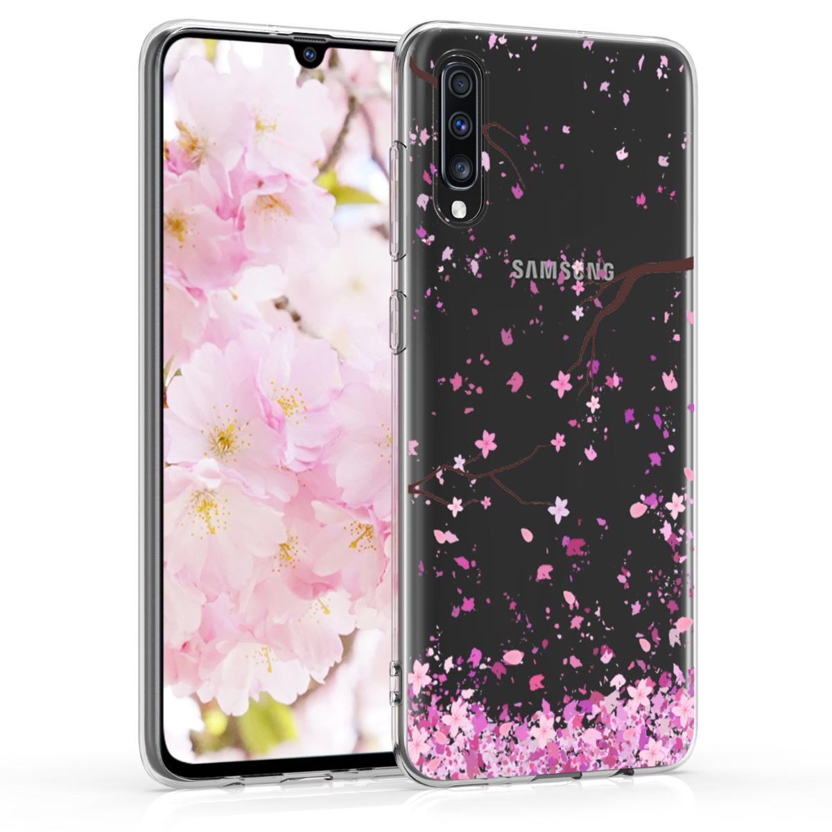 Kvalitní silikonové TPU pouzdro pro Samsung A70 - Cherry Blossoms růžové / tmavě hnědá / transparentní