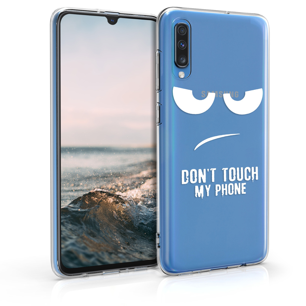 Kvalitní silikonové TPU pouzdro pro Samsung A70 - Do not Touch My Phone bílé / transparentní