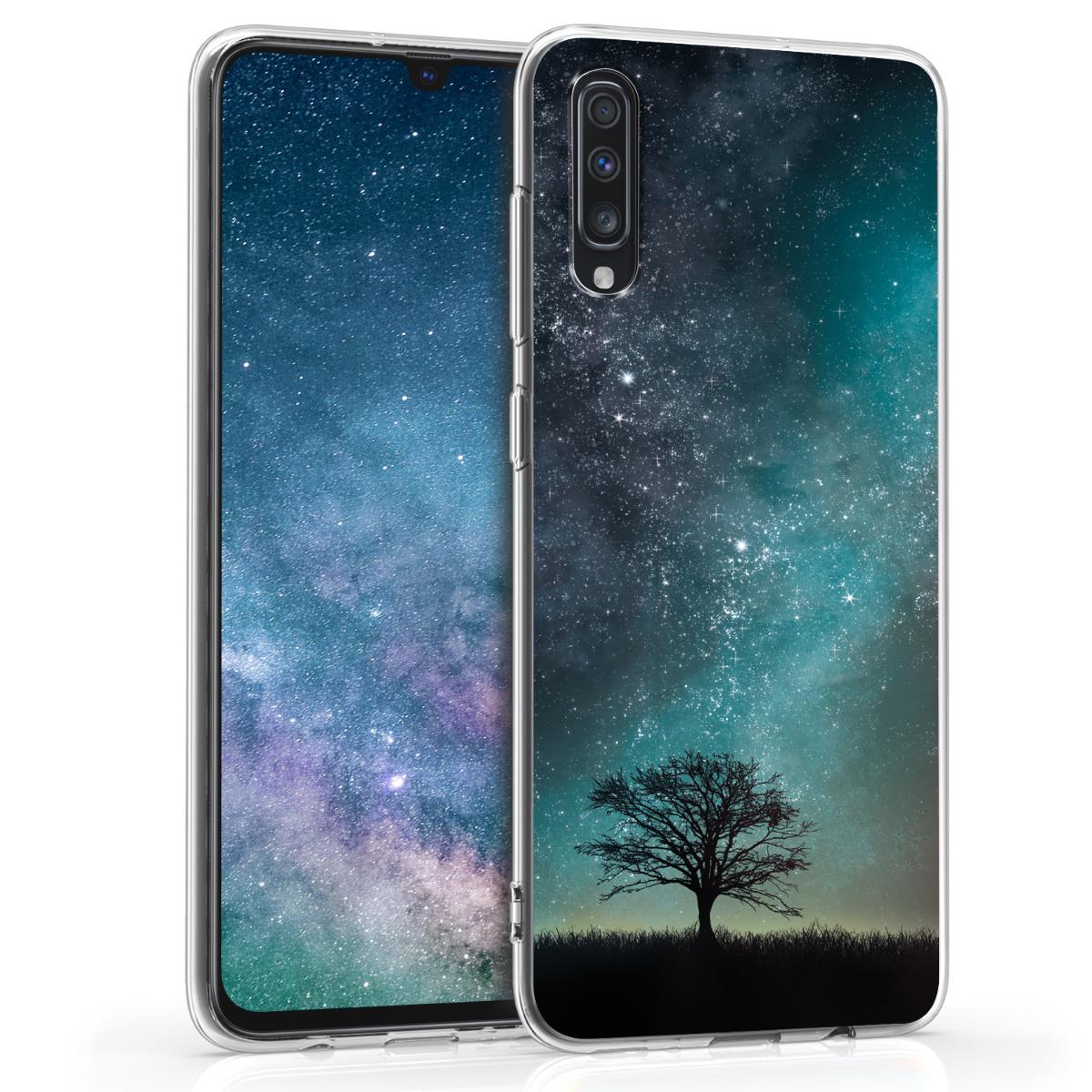 Kvalitní silikonové TPU pouzdro pro Samsung A70 - kosmické přírodní modré / šedé / černé