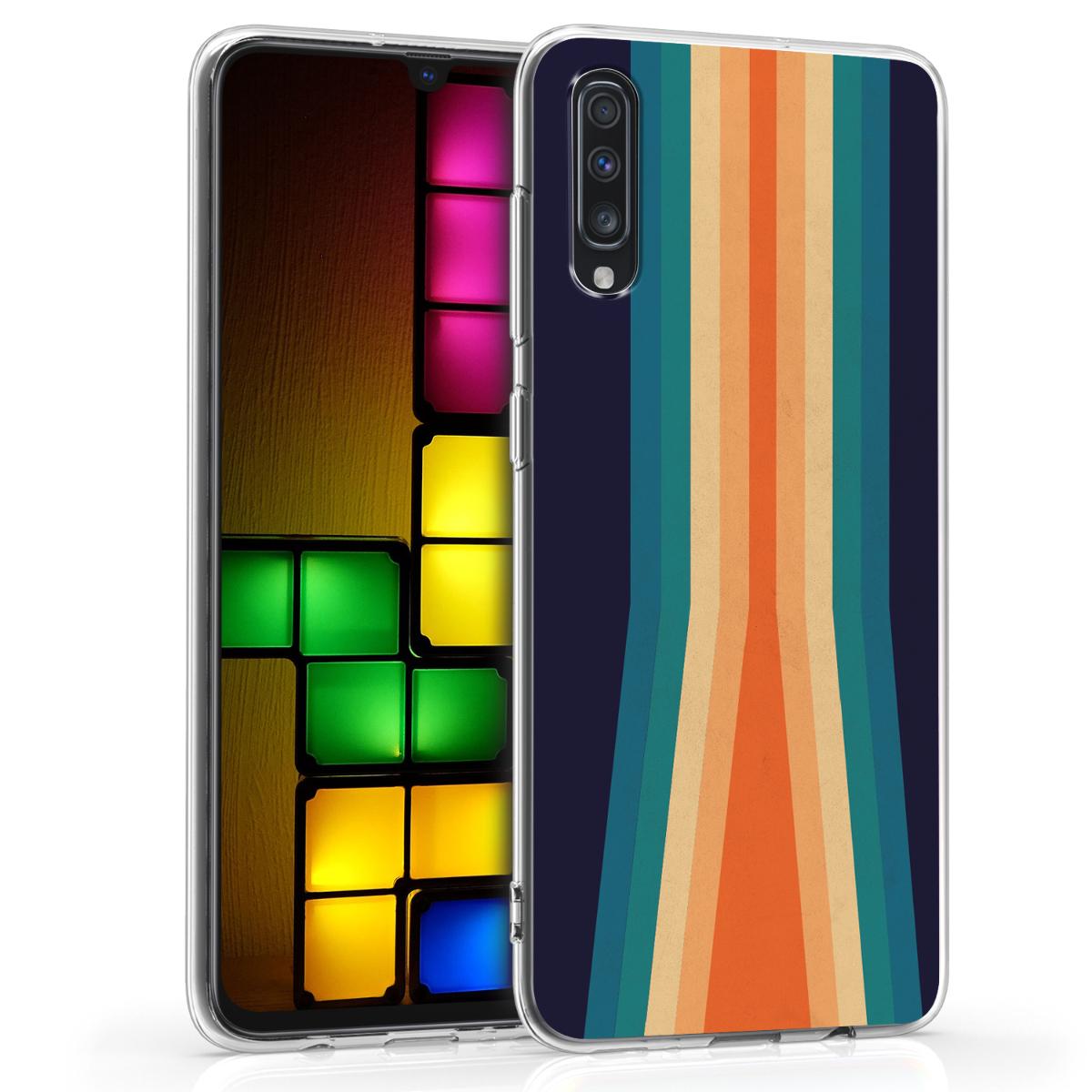 Kvalitní silikonové TPU pouzdro pro Samsung A70 - Retro Stripes vícebarevná