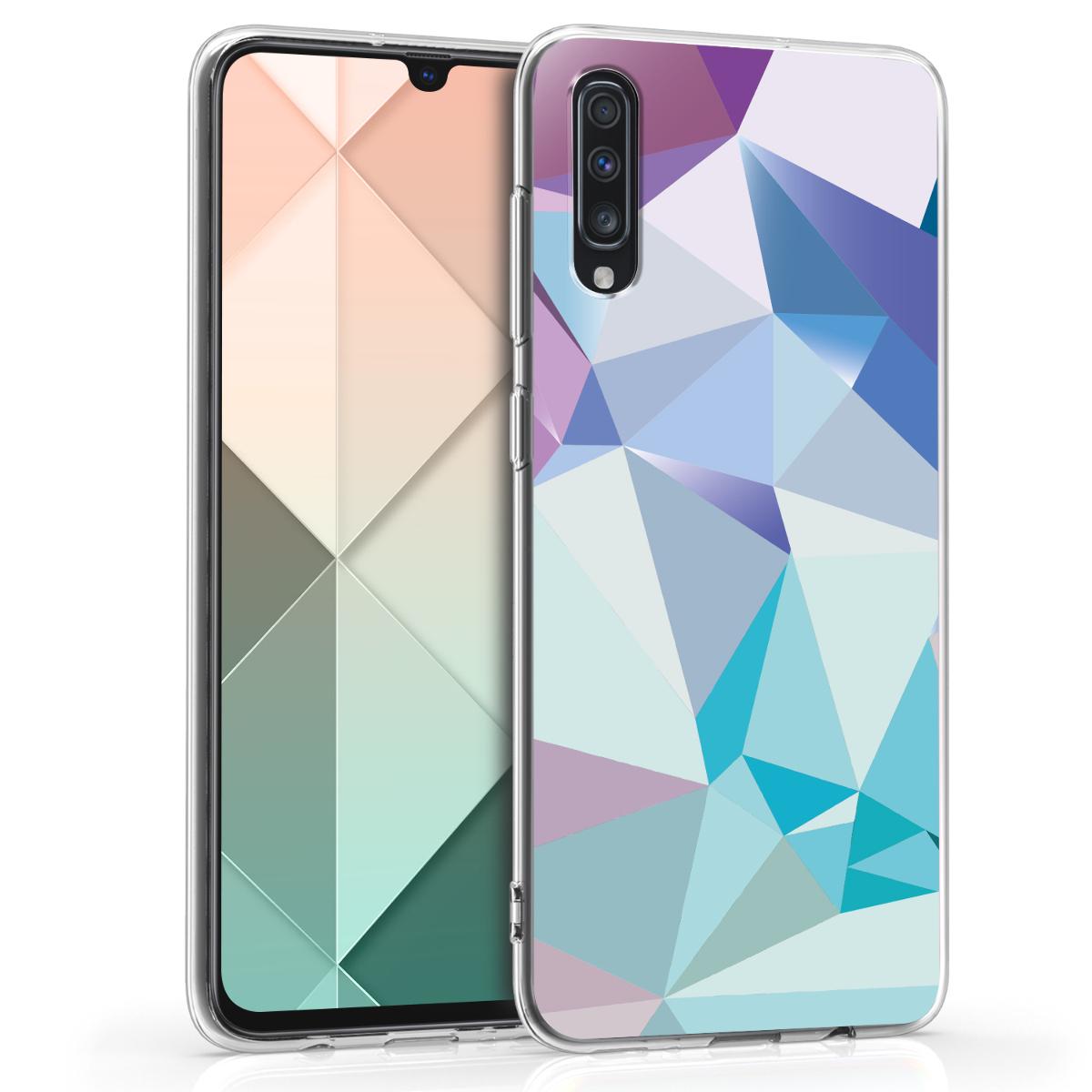 Kvalitní silikonové TPU pouzdro pro Samsung A70 - 3D trojúhelníky světle  modré / světle  růžová / modré