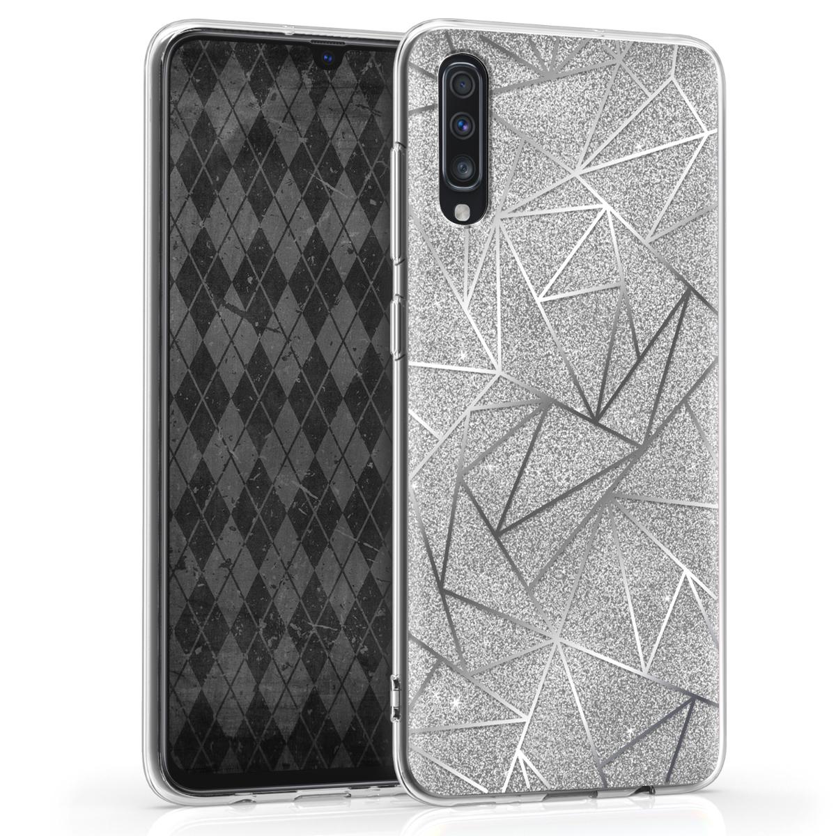Kvalitní silikonové TPU pouzdro pro Samsung A70 - Glitter Střepy stříbrné