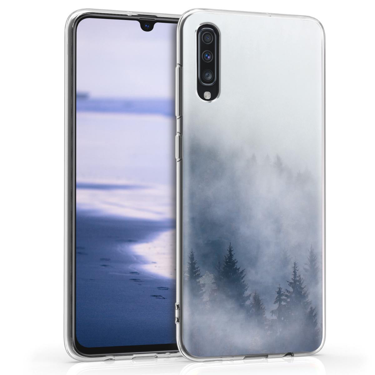Kvalitní silikonové TPU pouzdro pro Samsung A70 - Misty Forest světle  šedé / modré / tmavě šedé