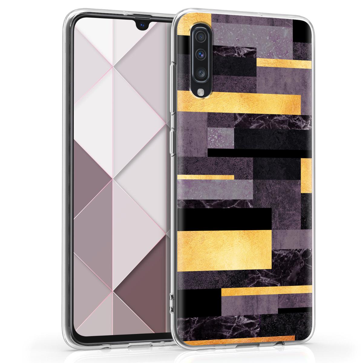 Kvalitní silikonové TPU pouzdro pro Samsung A70 - Glory Stripes Gold / tmavě šedé / černé