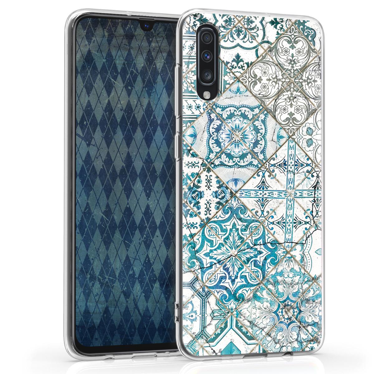 Kvalitní silikonové TPU pouzdro pro Samsung A70 - Moroccan Vibes monochromaticky modré / šedé / bílá