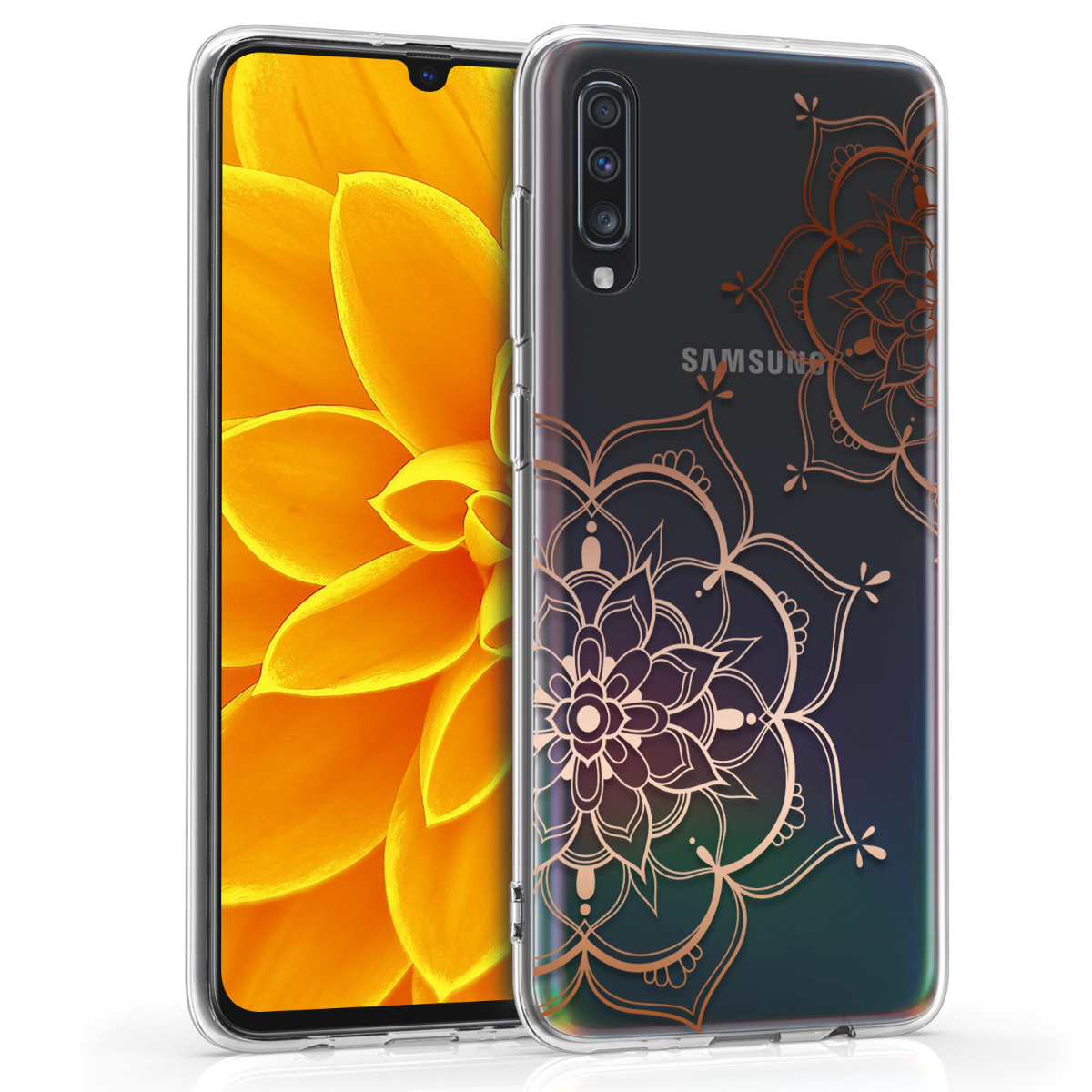 Kvalitní silikonové TPU pouzdro pro Samsung A70 - květiny Twins starorůžové rosegold / transparentní