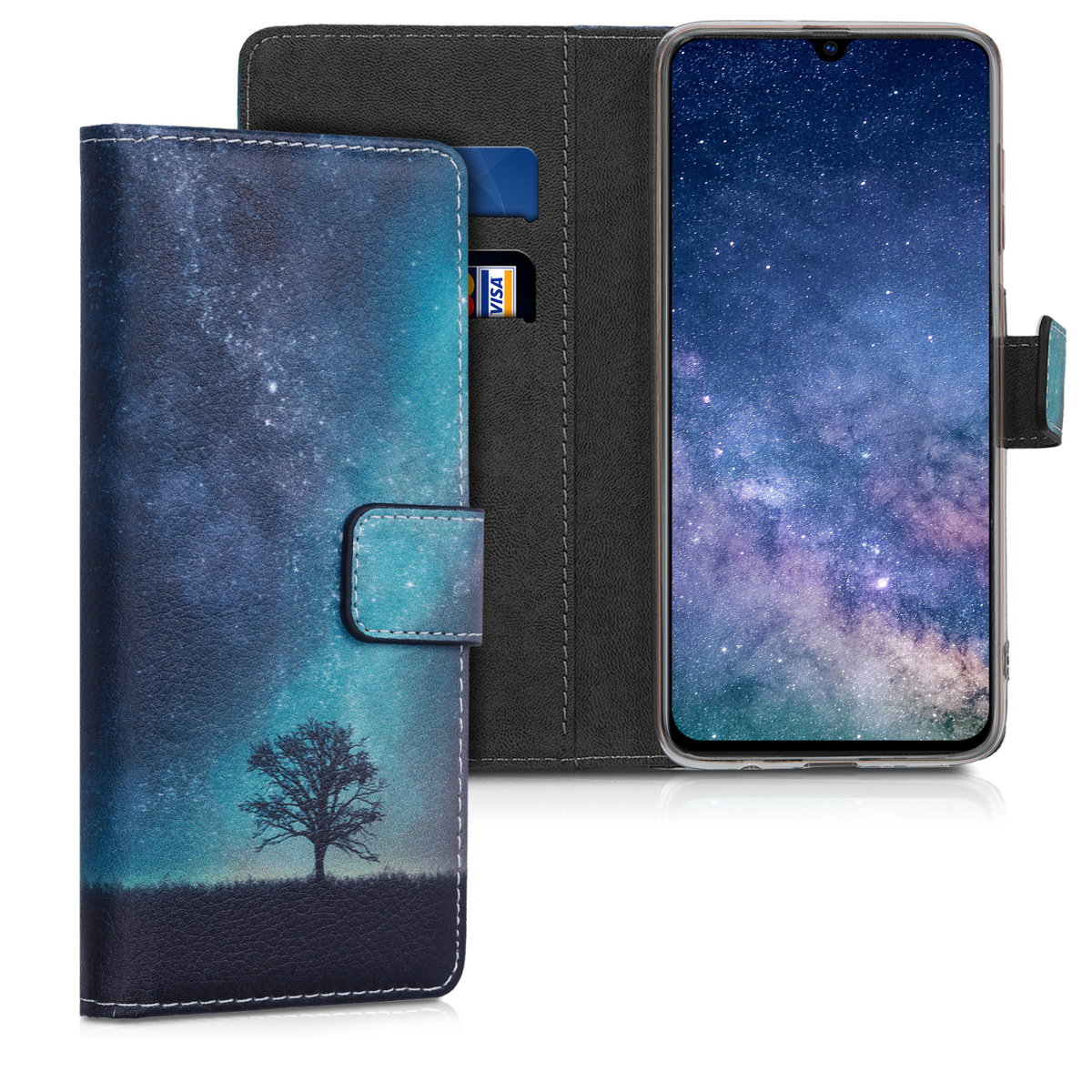 Kožené pouzdro pro Samsung A70 - kosmické přírodní modré / šedé / černé