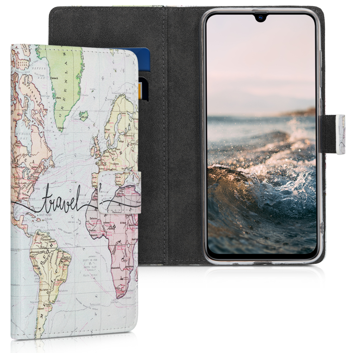 Kožené pouzdro pro Samsung A70 - Travel černé / vícebarevná