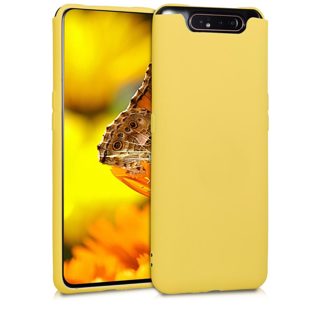 Kvalitní silikonové TPU pouzdro pro Samsung A80 - žluté matné