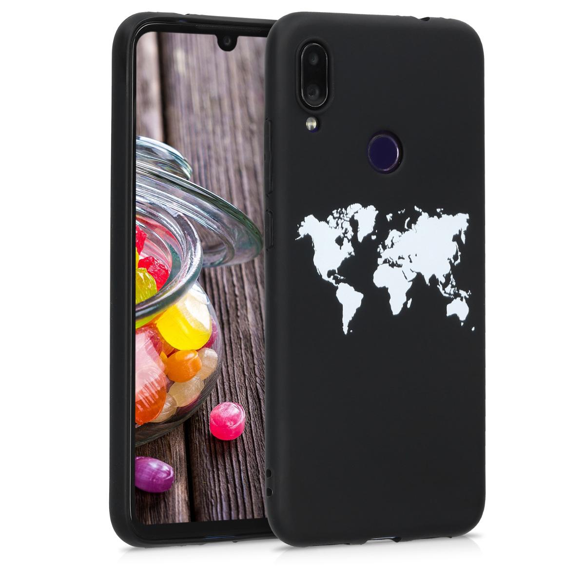 Kvalitní silikonové TPU pouzdro | obal pro Xiaomi Redmi Note 7 | Note 7 Pro - Travel Outline bílý / černý