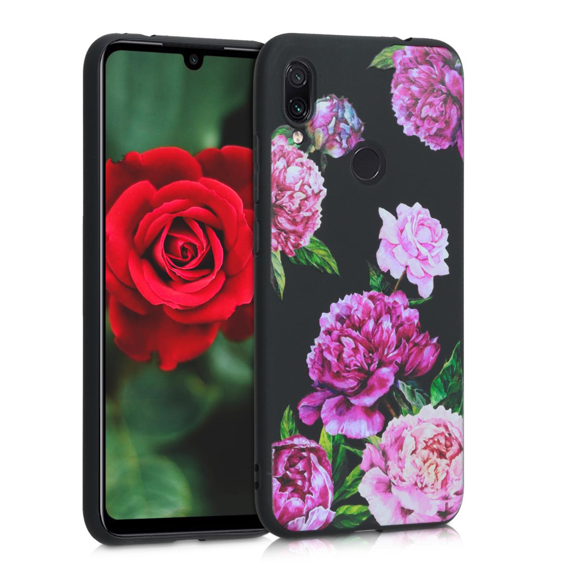 Kvalitní silikonové TPU pouzdro | obal pro Xiaomi Redmi Note 7 | Note 7 Pro - květina Mix fialový / Light růžový / černý