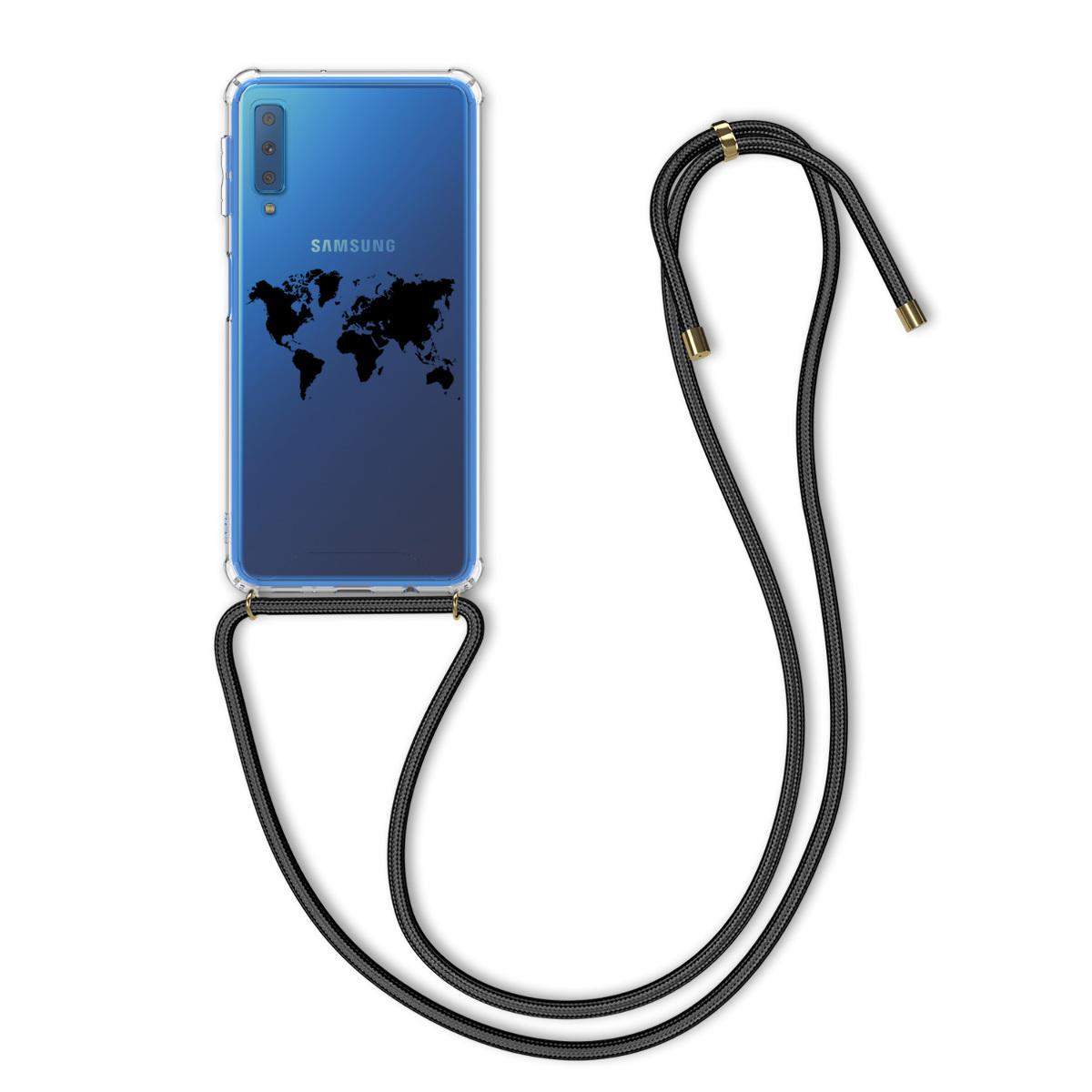 Kvalitní silikonové TPU pouzdro pro Samsung A7 (2018) - Travel Outline černé / transparentní
