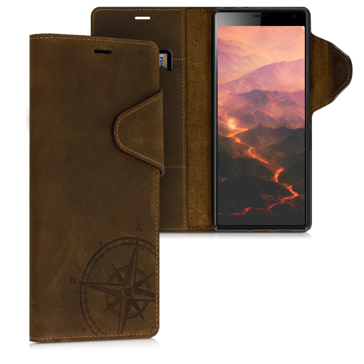 Kožené pouzdro | obal pro Sony Xperia 10 Plus - Navigační kompas hnědé