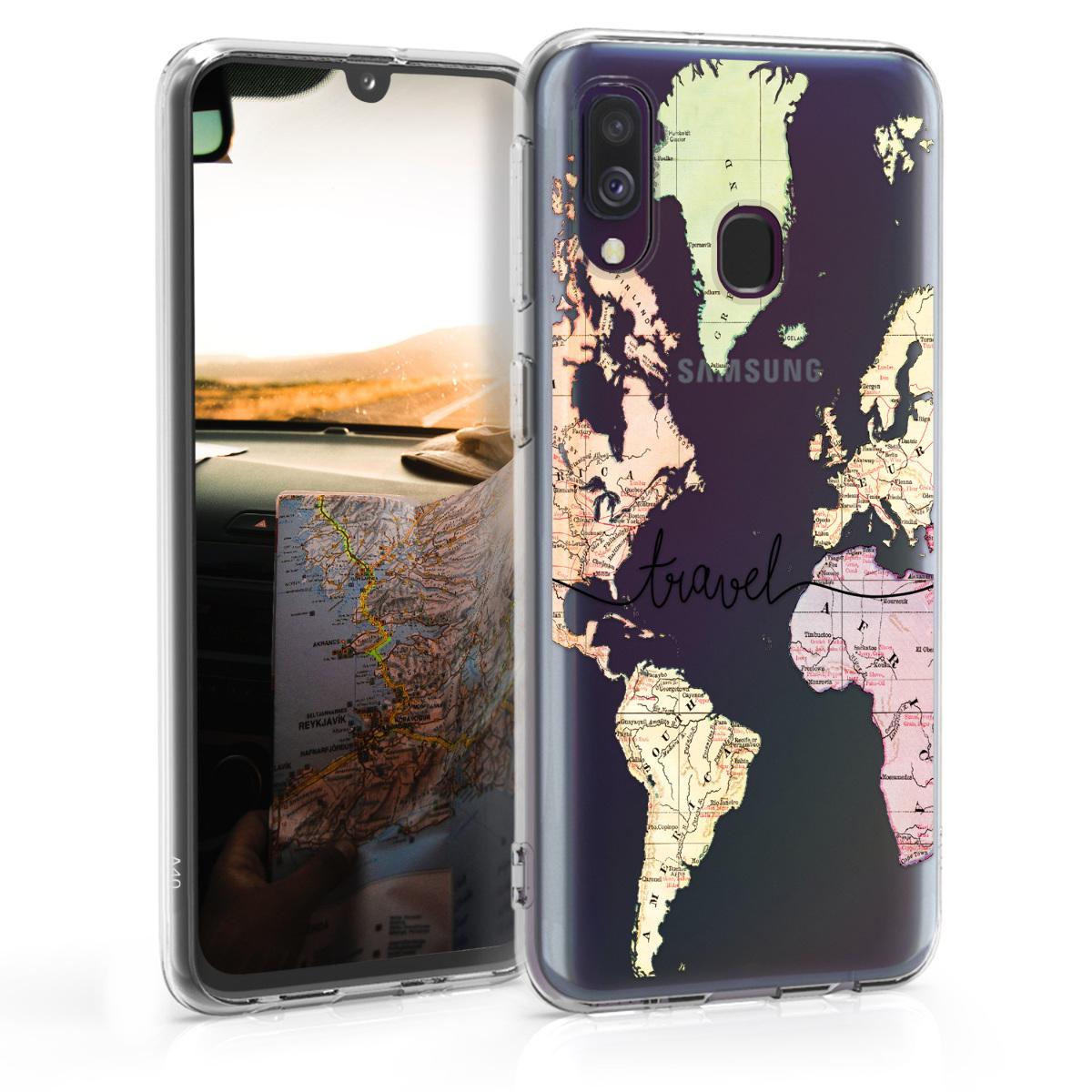 Kvalitní silikonové TPU pouzdro pro Samsung A40 - Travel černé / Multicolor / transparentní