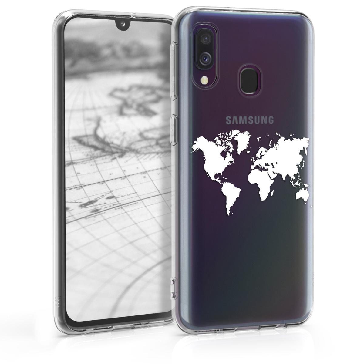 Kvalitní silikonové TPU pouzdro pro Samsung A40 - Travel Outline bílé / transparentní