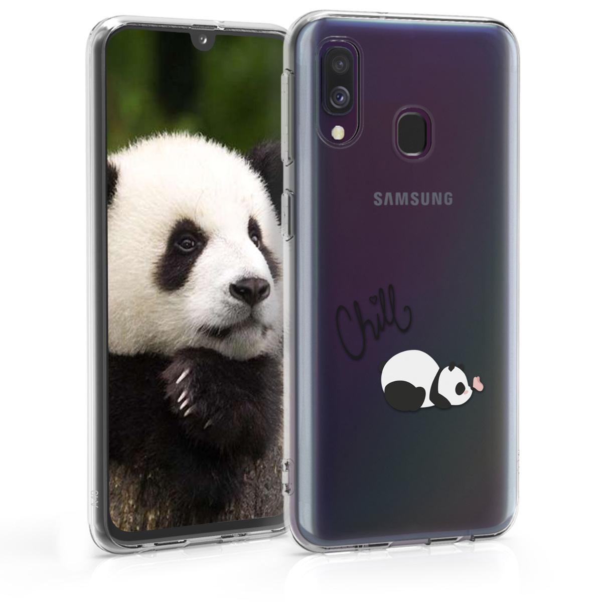 Kvalitní silikonové TPU pouzdro pro Samsung A40 - Chill Panda černé / bílé / transparentní