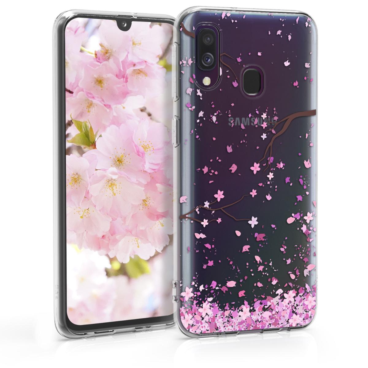 Kvalitní silikonové TPU pouzdro pro Samsung A40 - Cherry Blossoms růžové / tmavě hnědá / transparentní