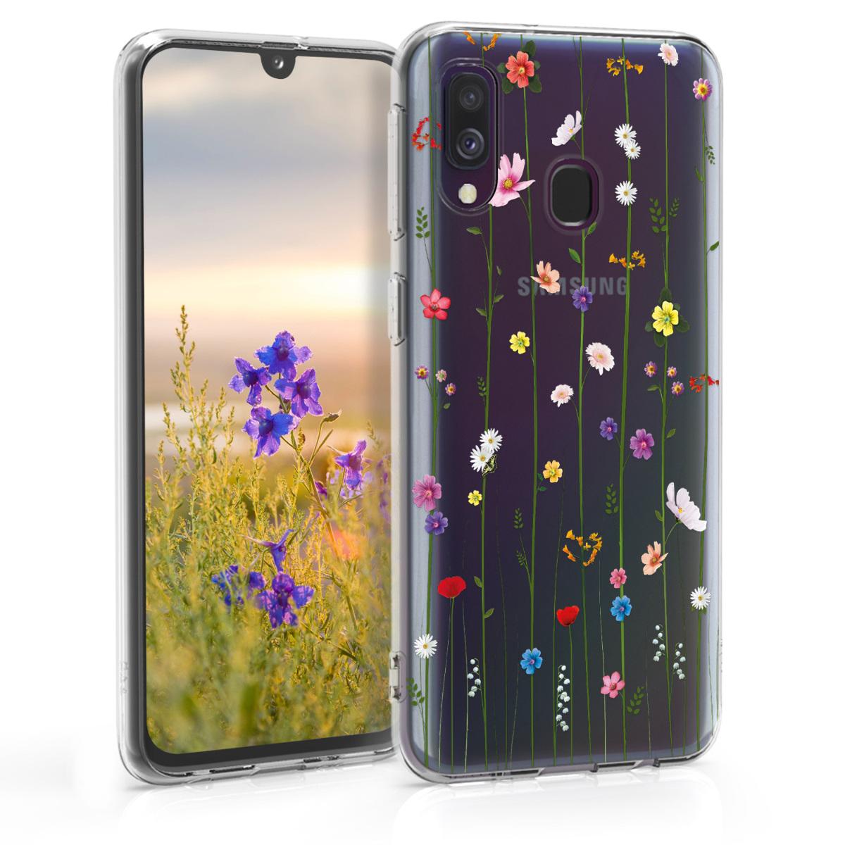 Kvalitní silikonové TPU pouzdro pro Samsung A40 - divoké květy Vines Multicolor / transparentní