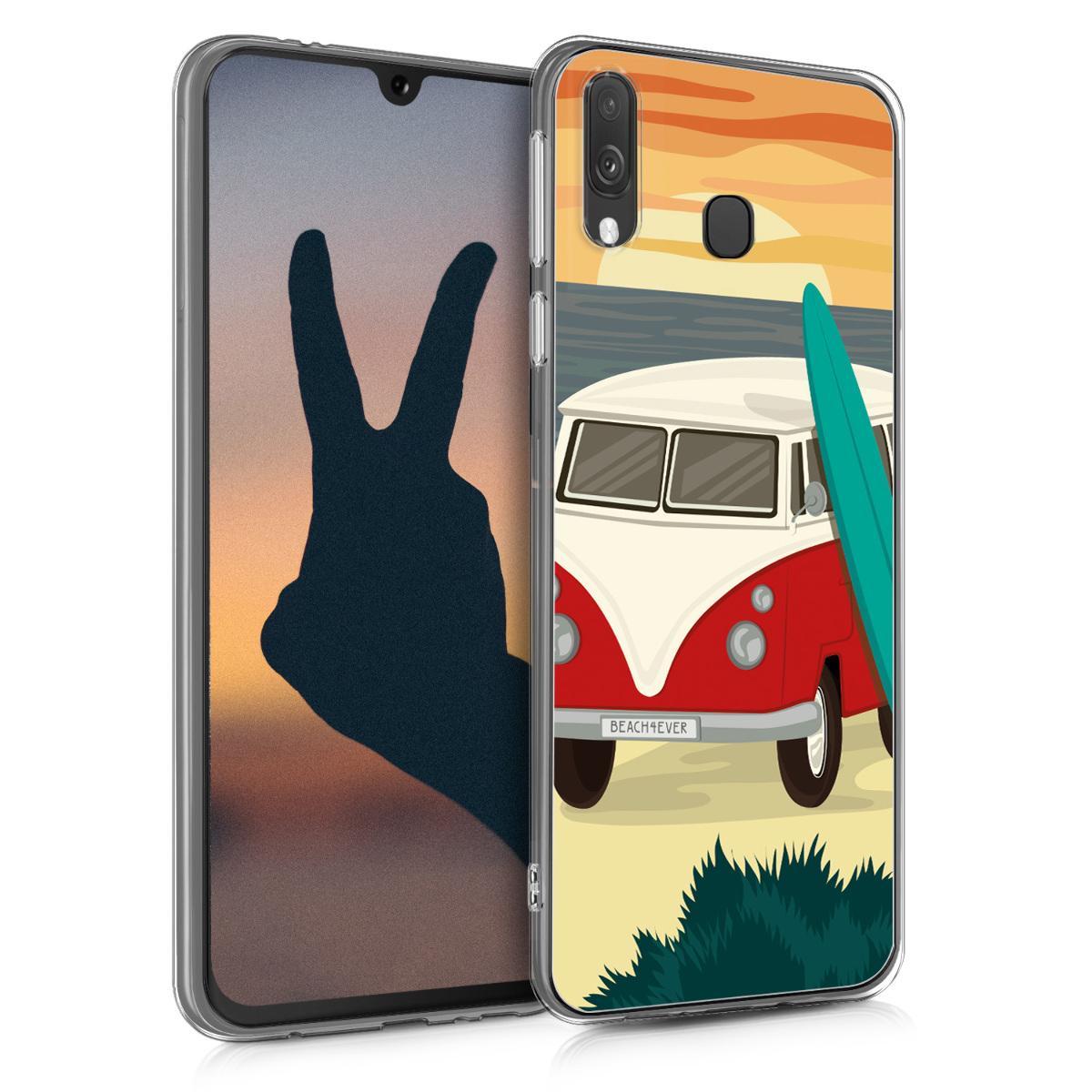 Kvalitní silikonové TPU pouzdro pro Samsung A40 - Campervan Paradiso červené / tyrkysové / oranžové