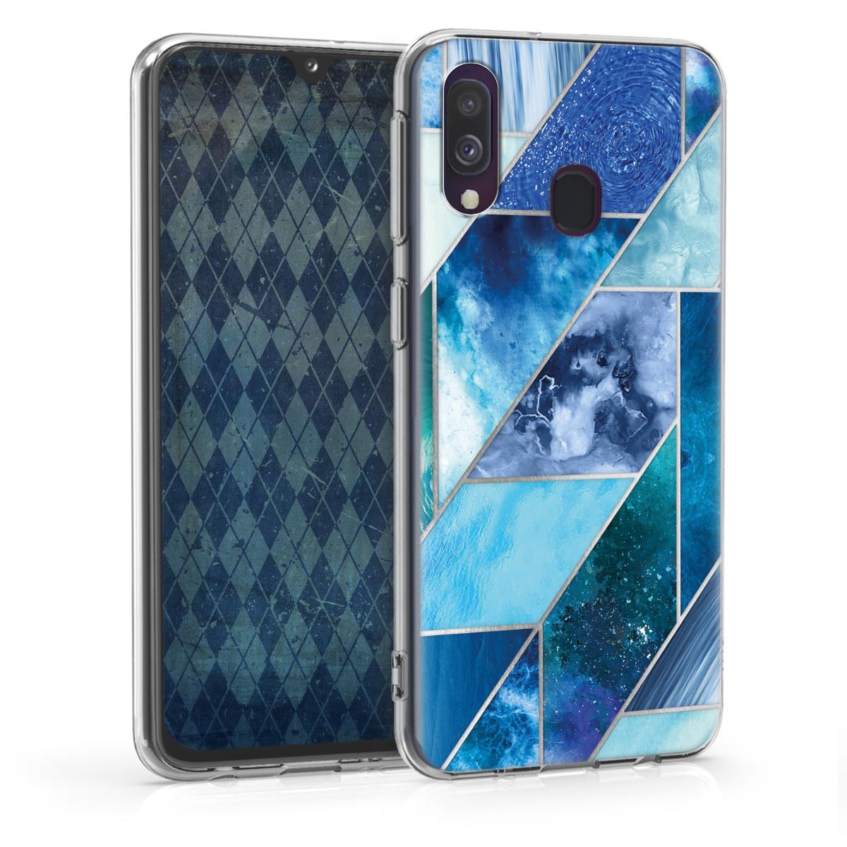 Kvalitní silikonové TPU pouzdro pro Samsung A40 - Geometrické vzory modré / tyrkysové / stříbrné