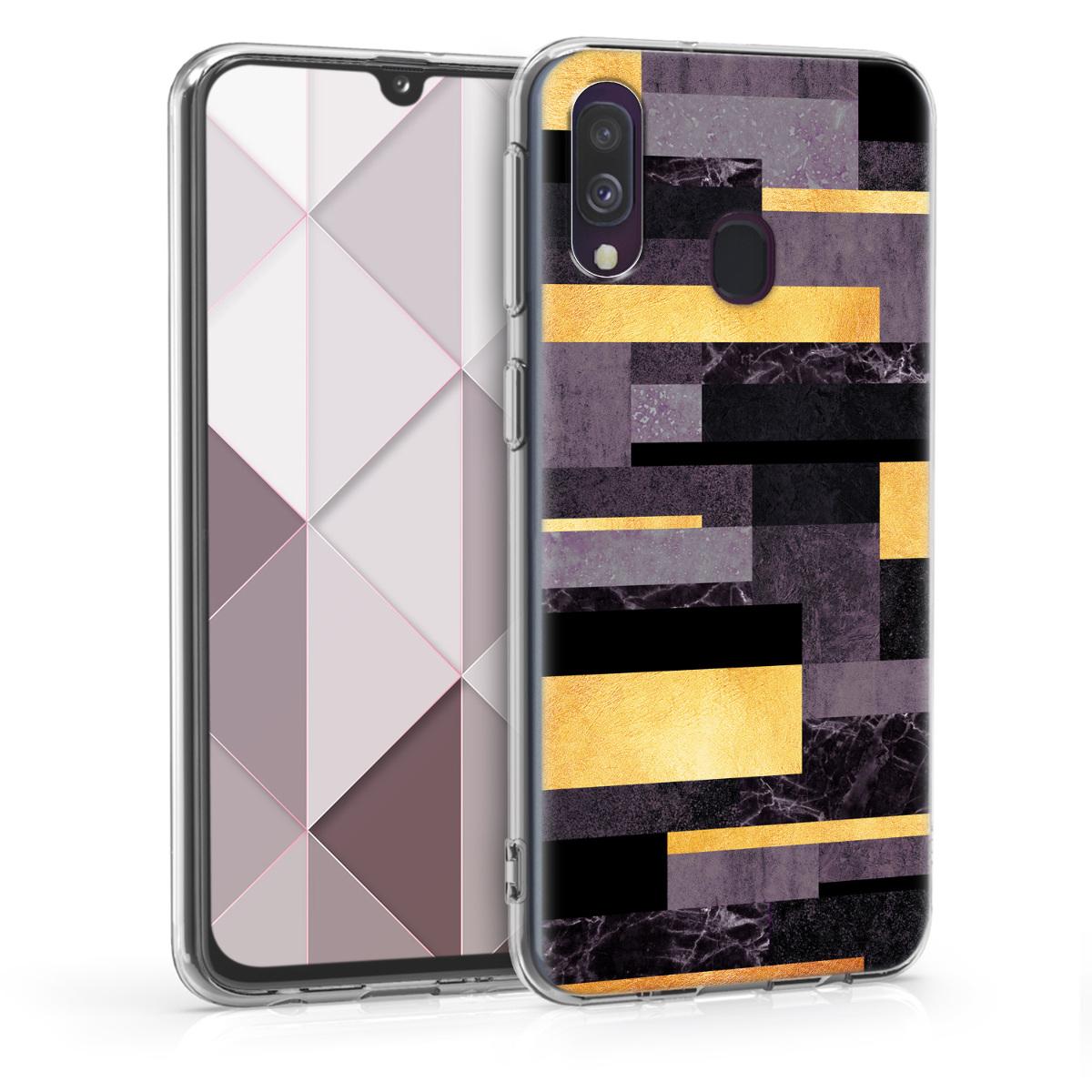 Kvalitní silikonové TPU pouzdro pro Samsung A40 - Glory Stripes Gold / tmavě šedé / černé