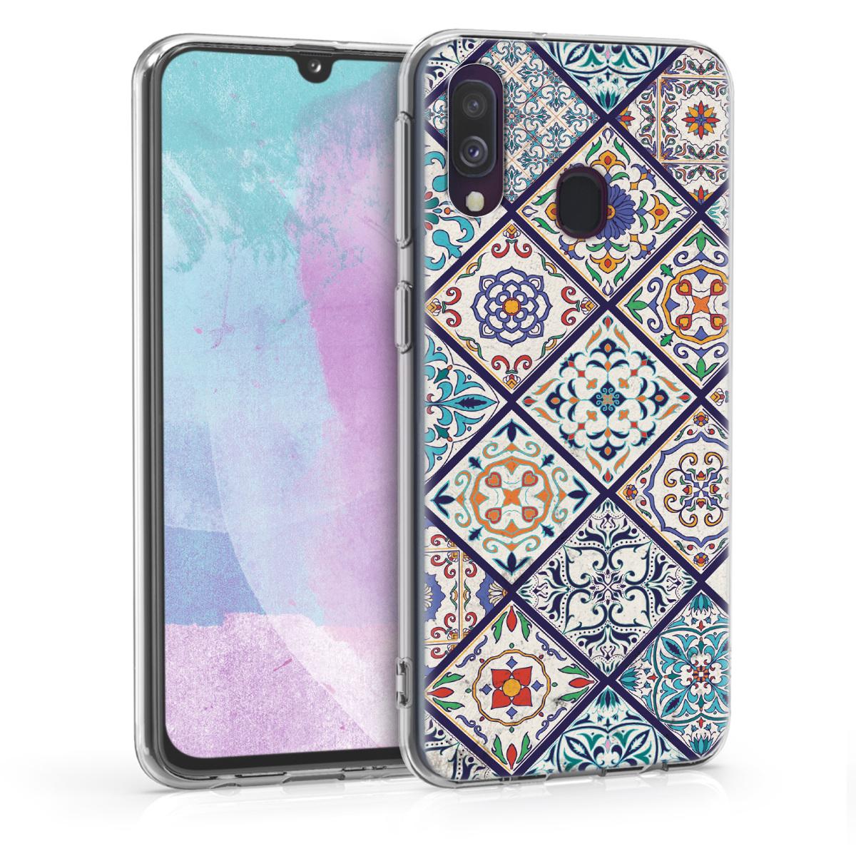 Kvalitní silikonové TPU pouzdro pro Samsung A40 - Moroccan Vibes v vícebarevná modré / oranžová / bílá