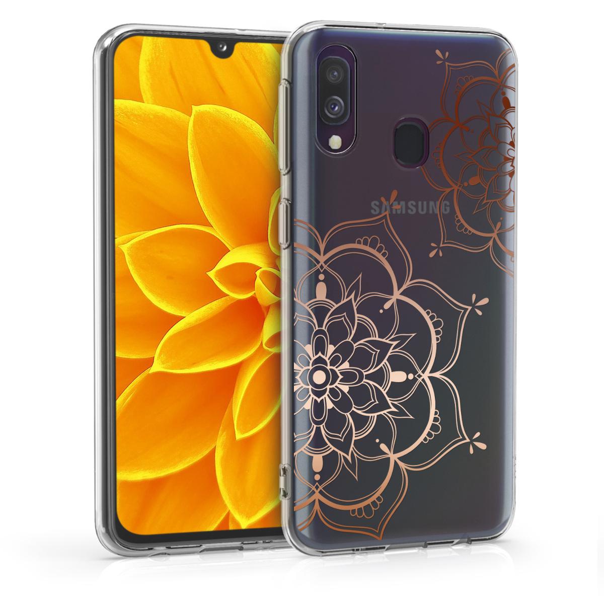 Kvalitní silikonové TPU pouzdro pro Samsung A40 - květiny Twins starorůžové rosegold / transparentní