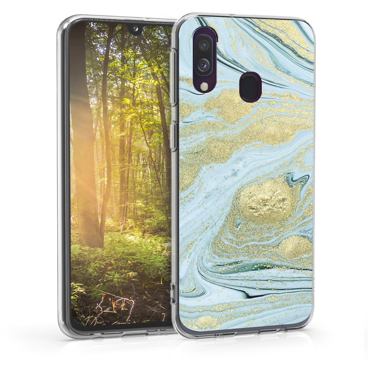Kvalitní silikonové TPU pouzdro pro Samsung A40 - metalické Marble Gold / bílé / černé